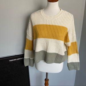 Moon & Madison Cream/Mustard/Taupe Knit Sweater